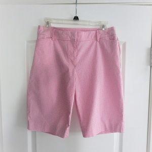 Talbots Pink White Gingham Bermuda Perfect Shorts